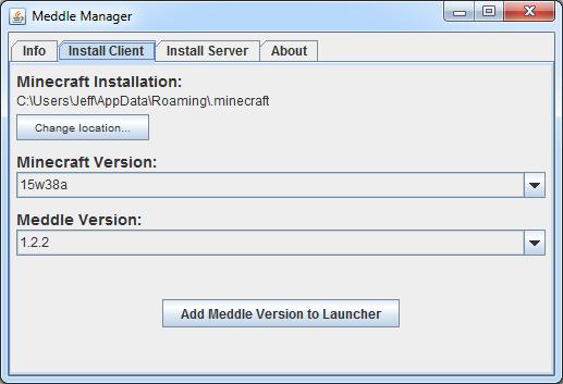 Meddle - Minecraft TweakClass Mod Loader + 1 9/1 10/1 11 snapshot